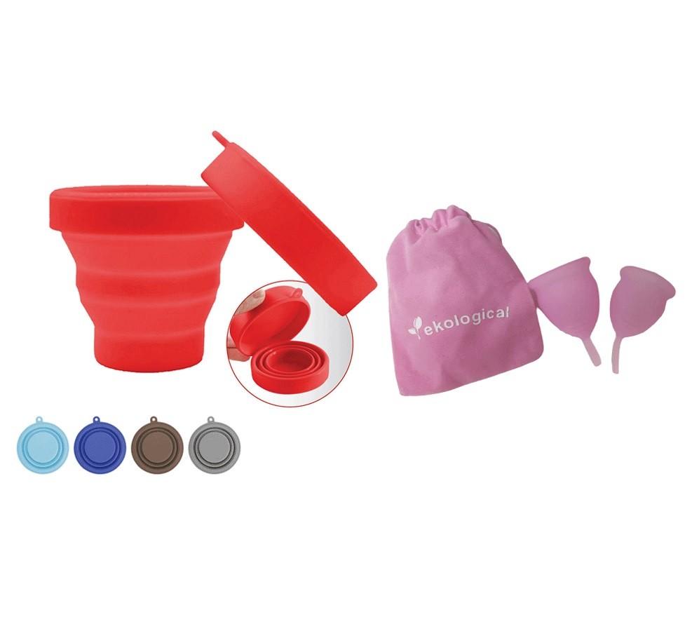Kit Copo Coletor Menstrual e Copo Esterilizador de Silicone