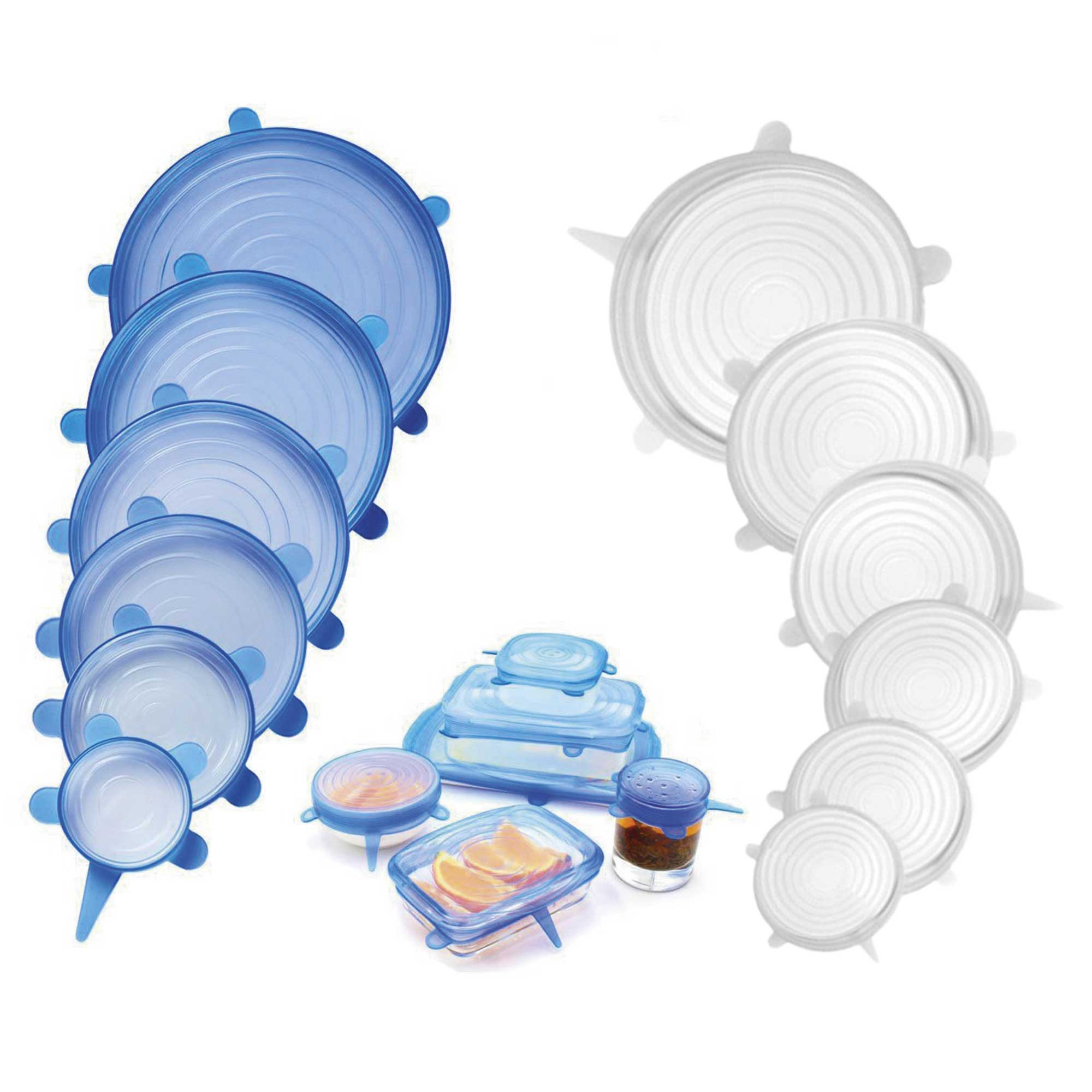 Kit de 12 Tampas de Silicone Universal  Azul e Branco (2 kits x 6)