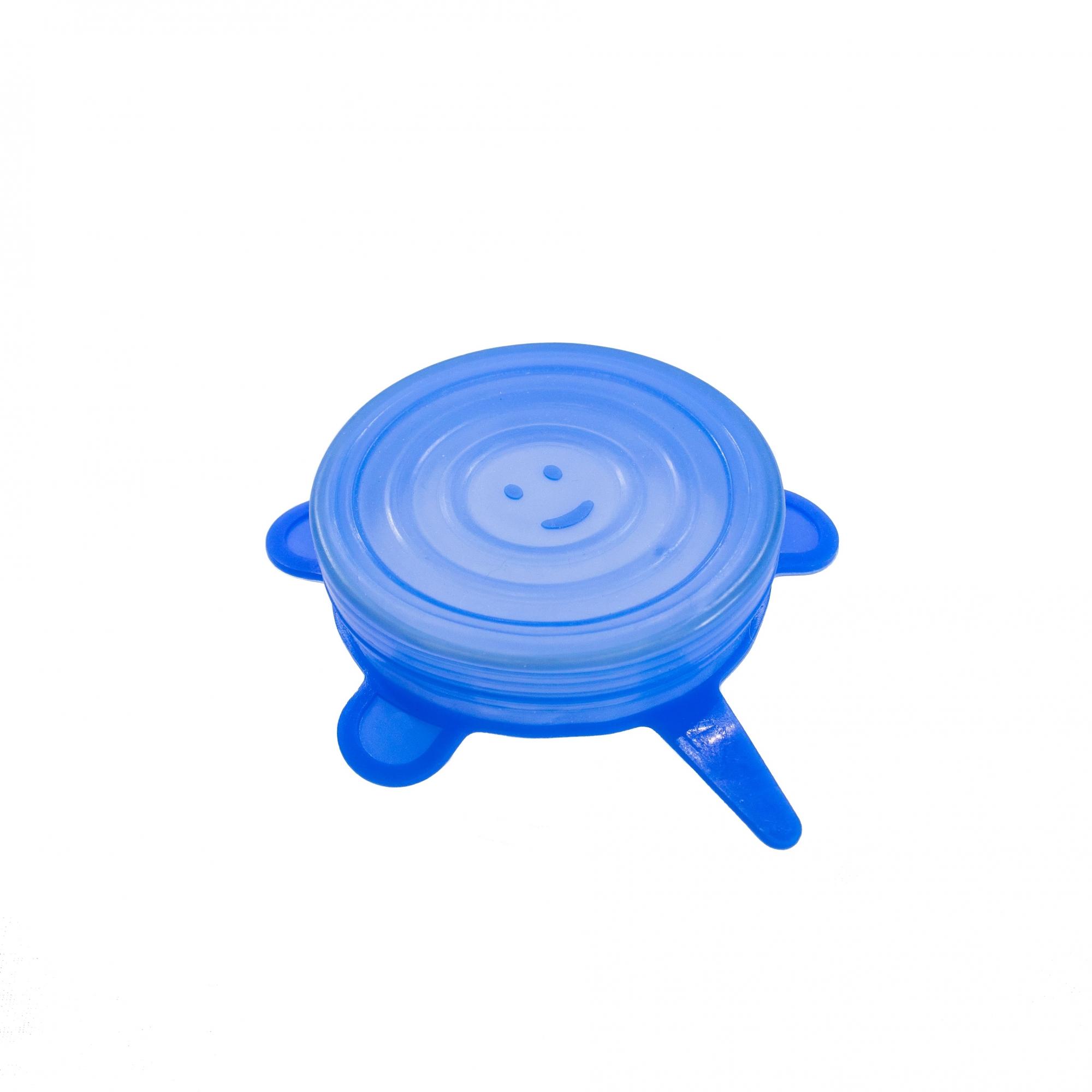 Kit de 6 Tampas de Silicone Universal Azul