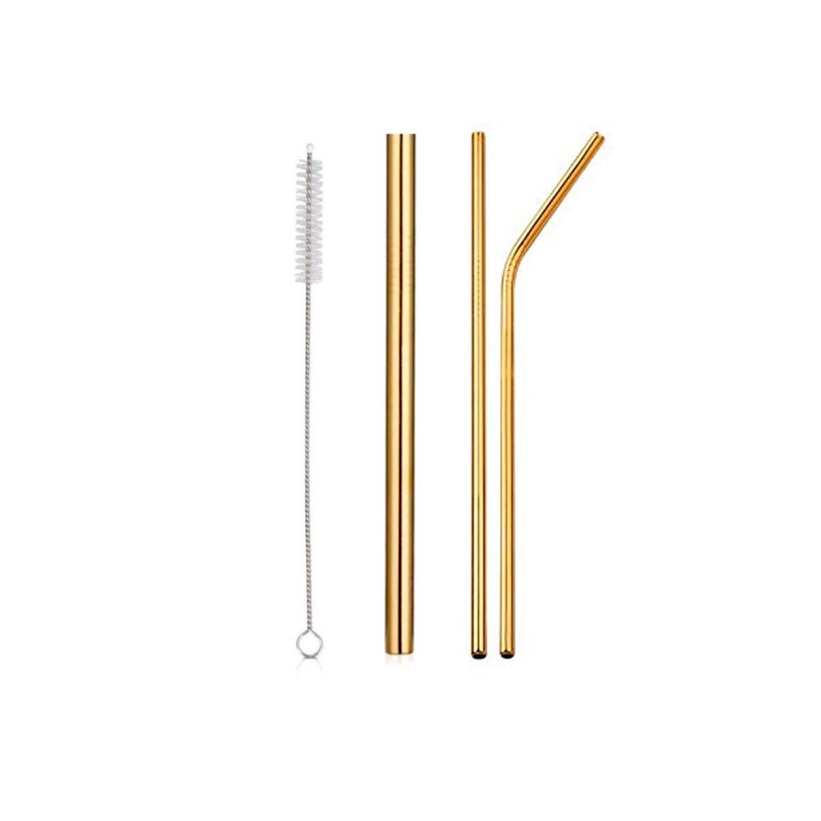 Kit de Canudo de Inox Ecológico Dourado