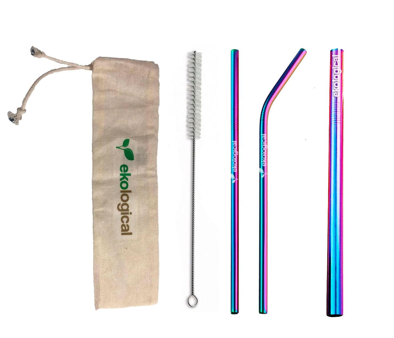 Kit de Canudo de Inox Ecológico Furta-Cor