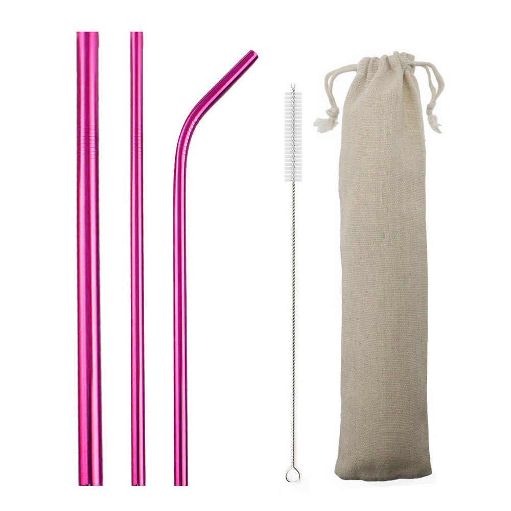 Kit de Canudo de Inox Ecológico Rosa