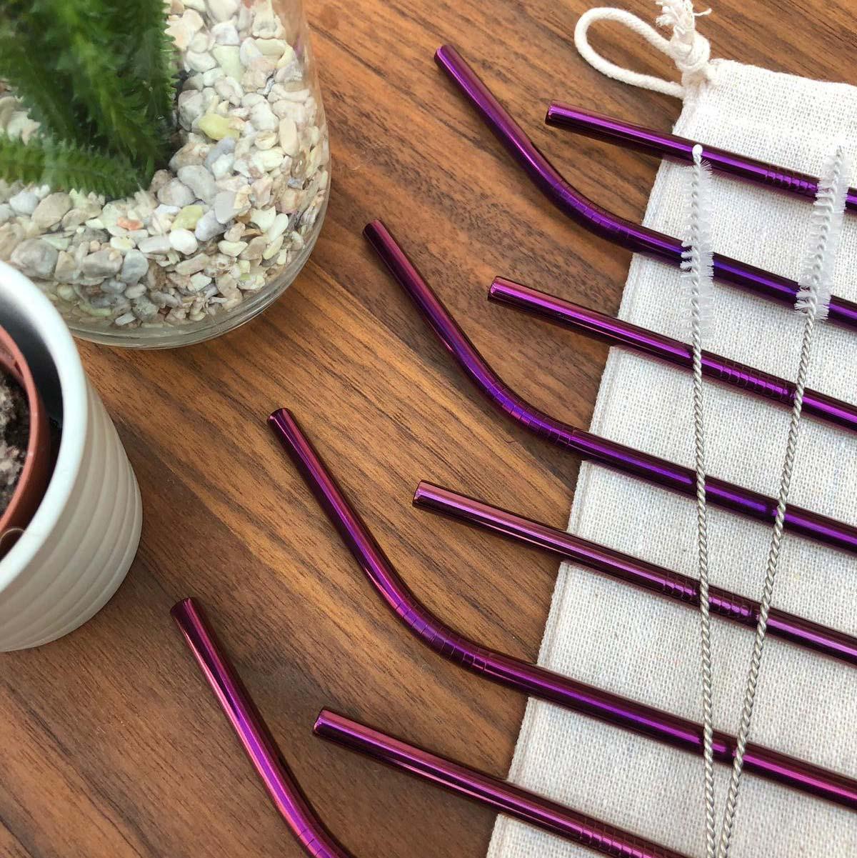 Kit de Canudo de Inox Ecológico Roxo