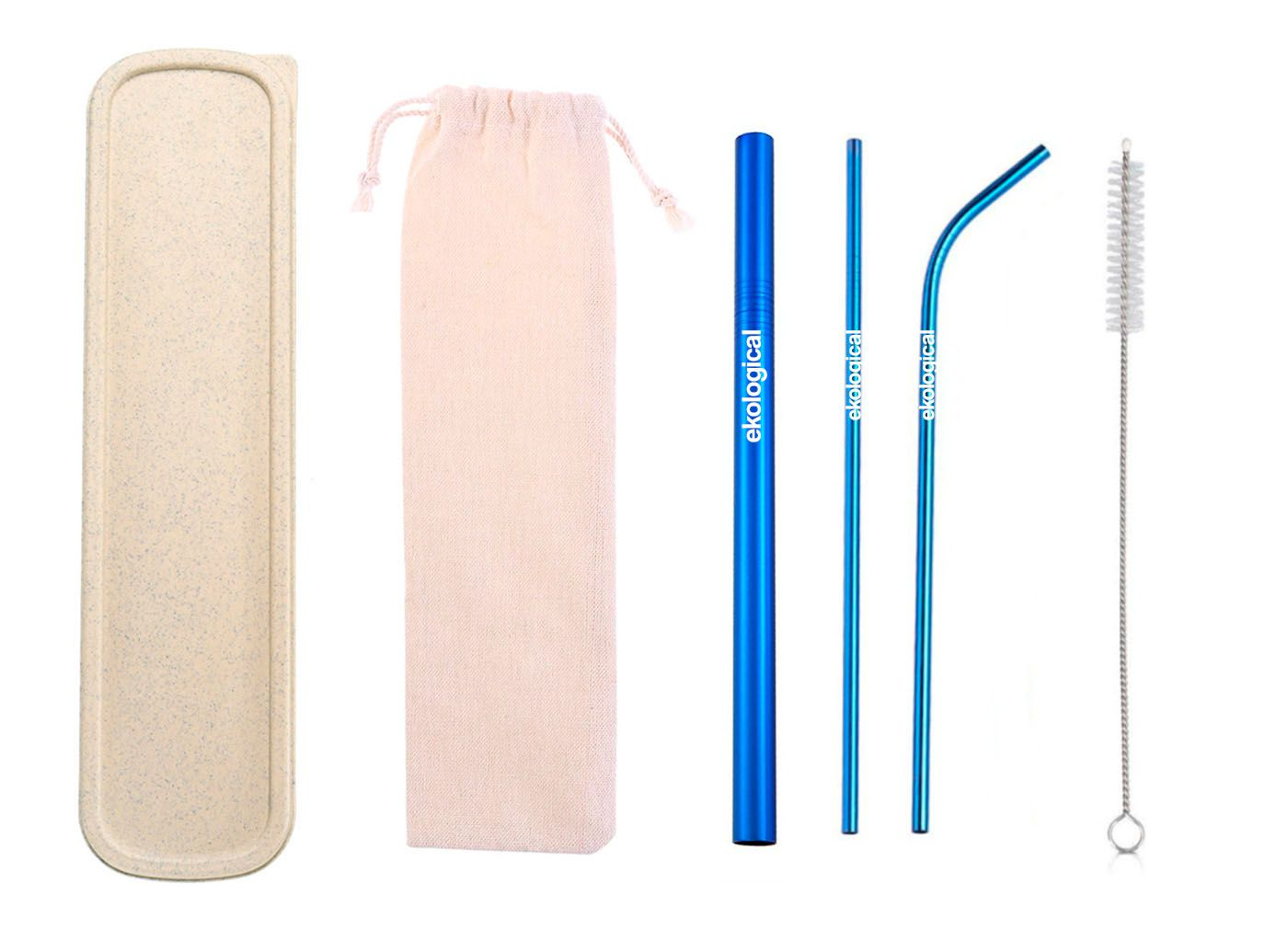 Kit de Canudo de Inox Ecológico Azul