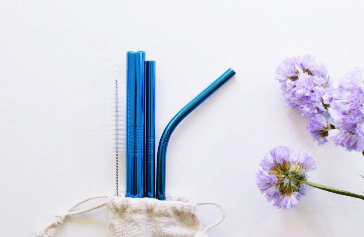 Kit de Canudos de Inox Ecológico Azul