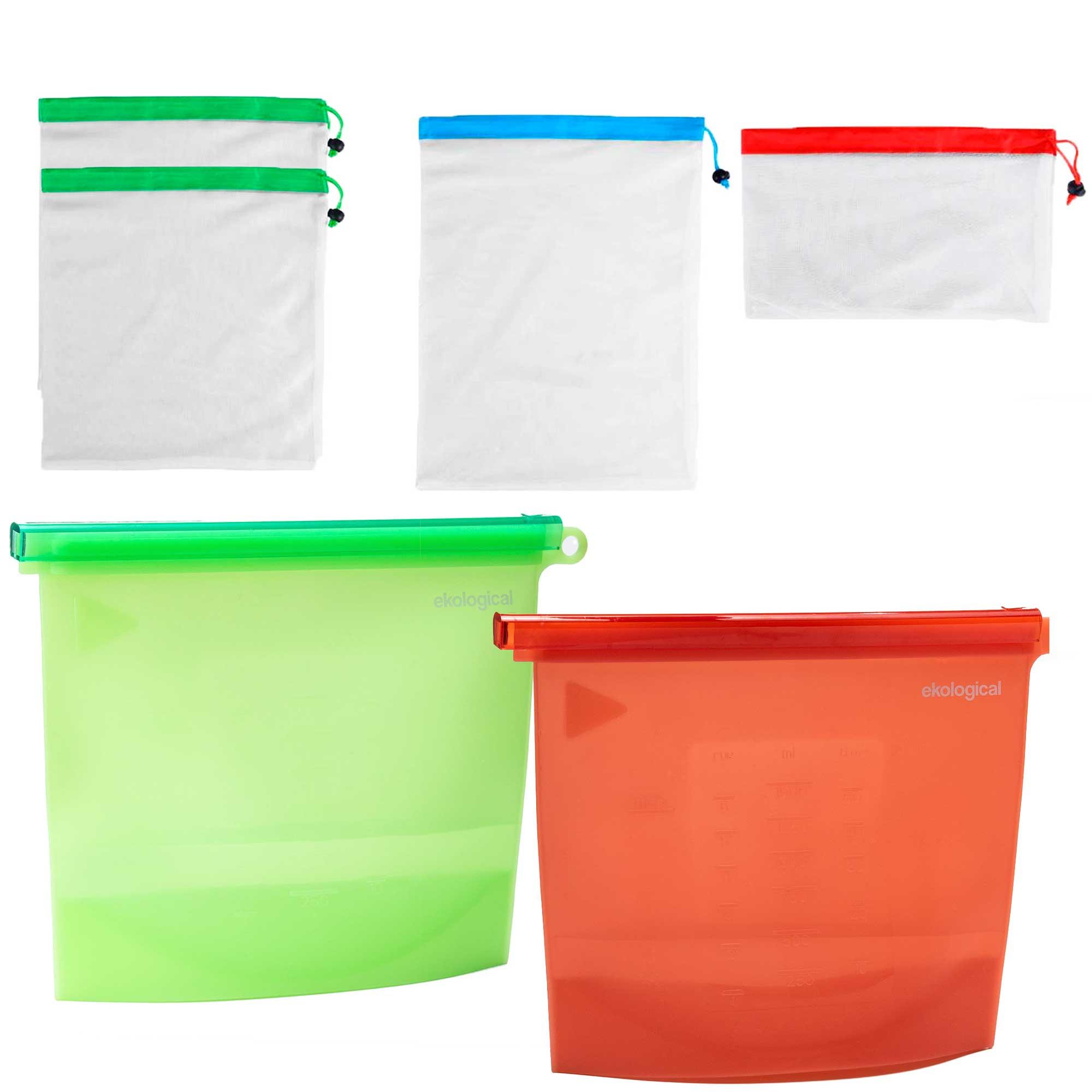 Kit de Ecobags Respiráveis (4 unidades) e sacos de 1500 ml (2 unidades)