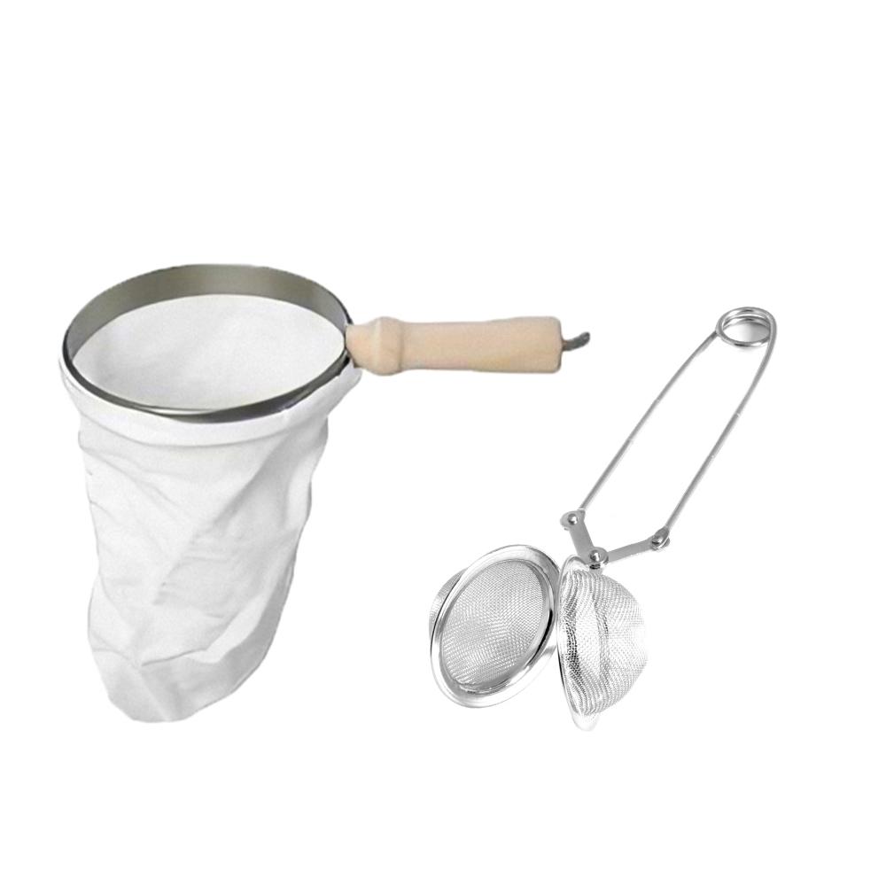 Kit Filtro de Café de Pano Grande e Infusor de Chá Inox com Pinça