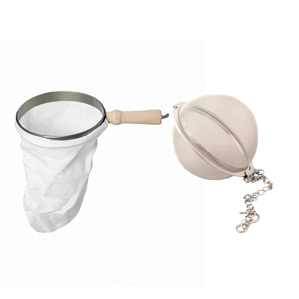 Kit Filtro de Café de Pano Pequeno e Infusor de Chá Inox  Com Corrente