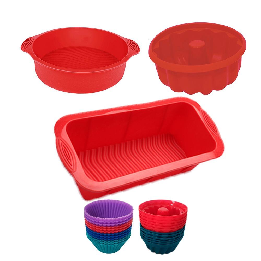 Kit Formas para Bolo de Silicone + Kit c/12 Forminha de Cupcake e 12 Forminhas para Pudim Silicone