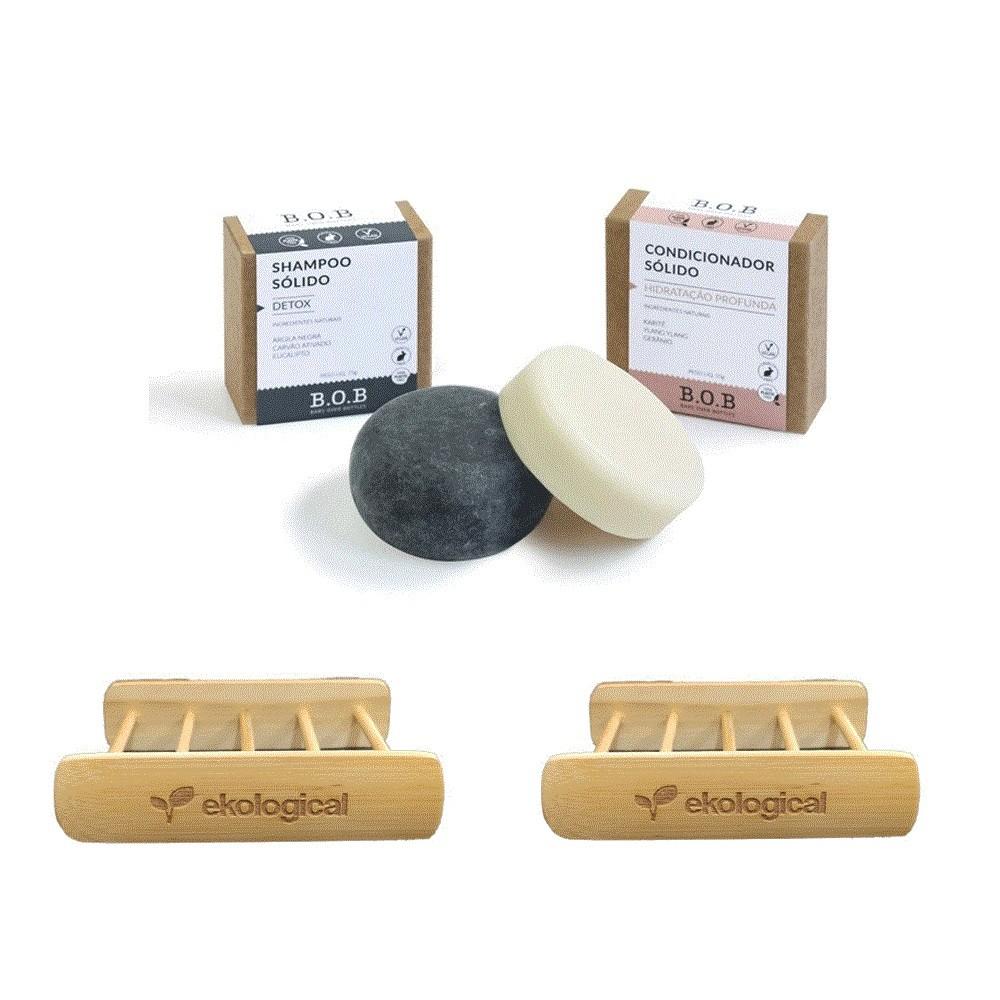 Kit Shampoo e Condicionador em Barra e Saboneteiras de Bambu