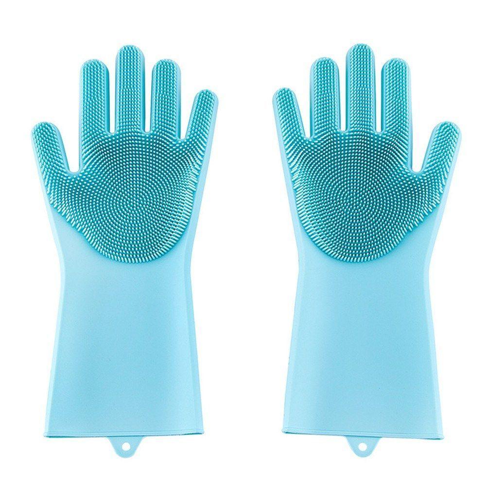 Luvas de Silicone para Lavar Louça Azul