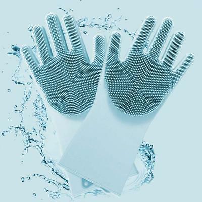 Luvas de Silicone De Limpeza Azul