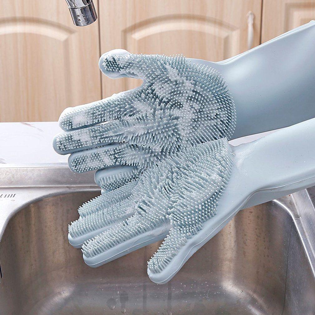 Luvas de Silicone para Lavar Louça Cinza