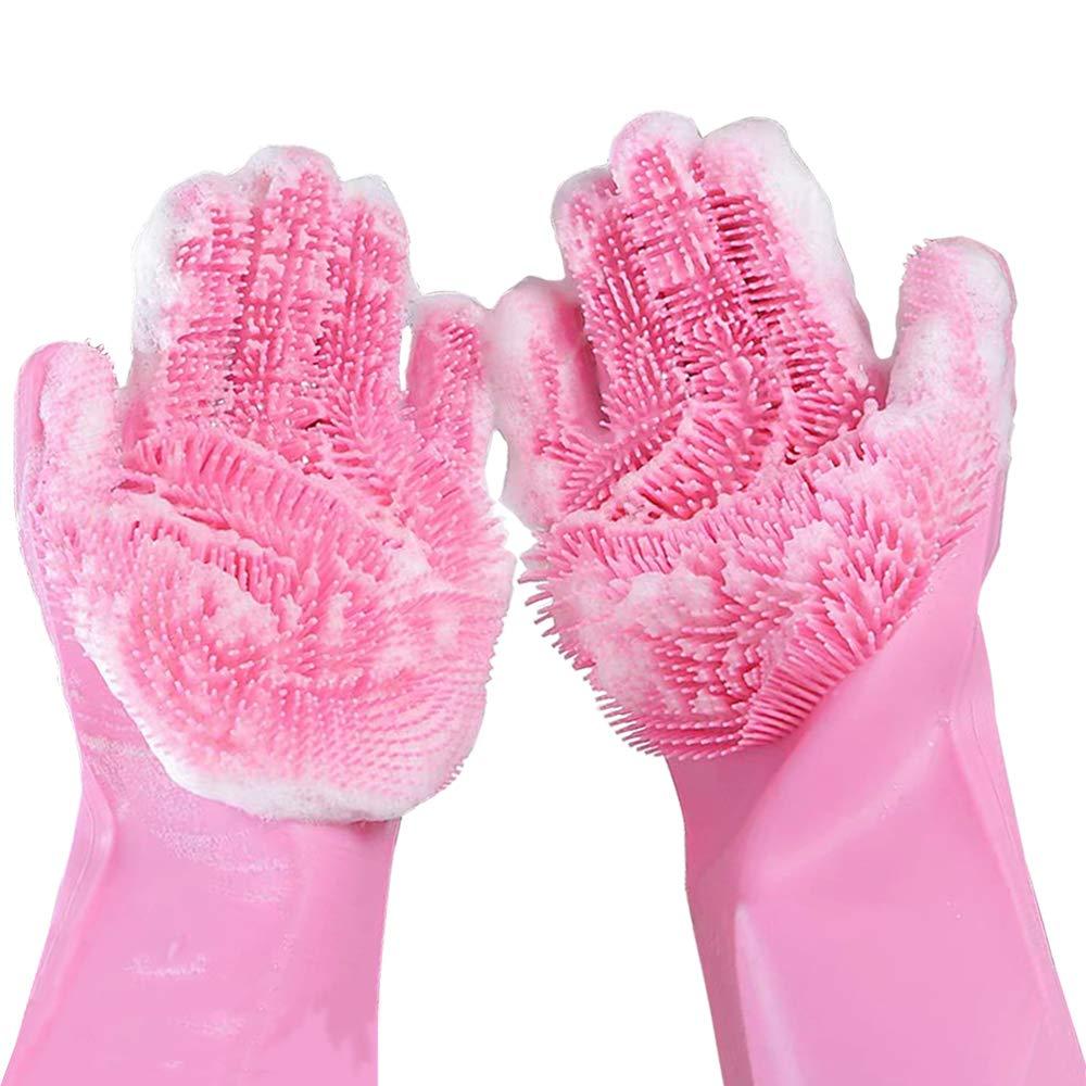 Luvas de Silicone De Limpeza Rosa