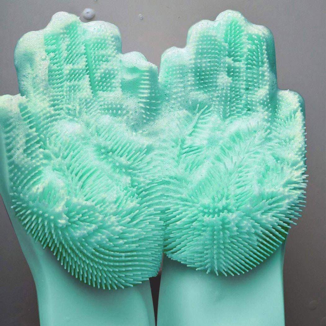 Luvas de Silicone para Lavar Louça Verde