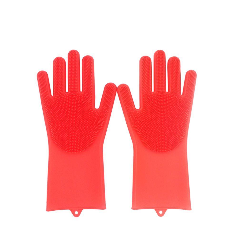 Luvas de Silicone De Limpeza Vermelha