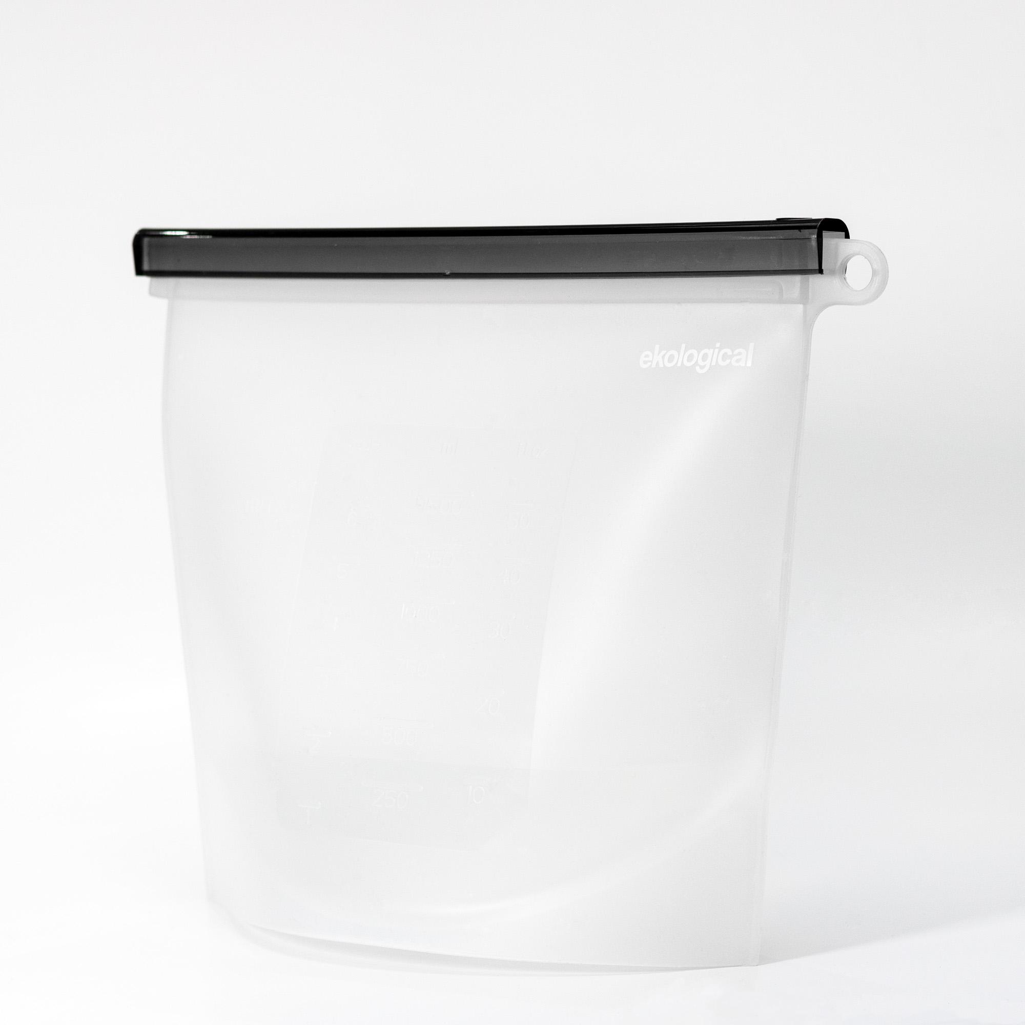 Saco Silicone Reutilizável Cinza 1000ml