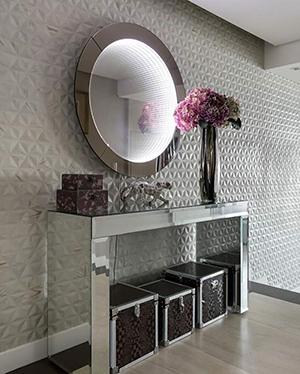Aparador Espelhado Bisotê Luxo Prata