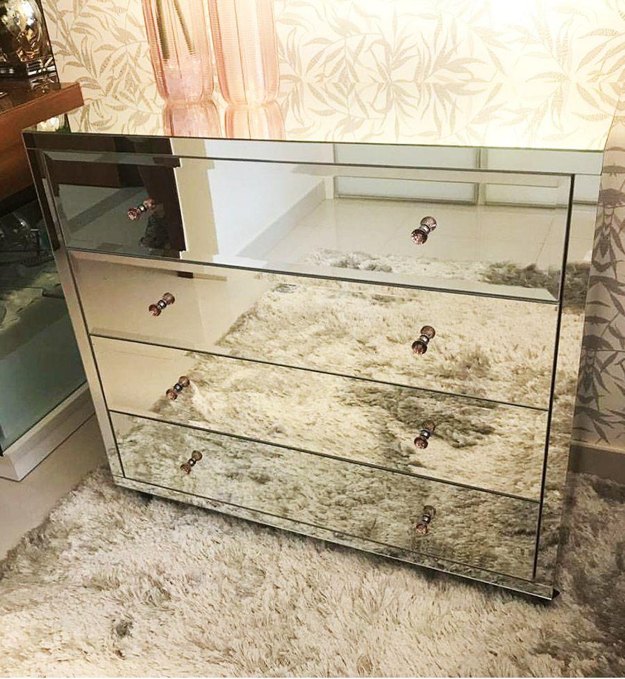 Cômoda Espelhada Prata Luxo