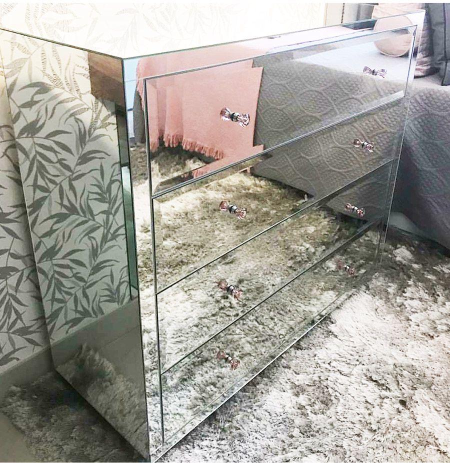 Cômoda Espelhada Prata Luxo  - Universo Decor Móveis e Decoração