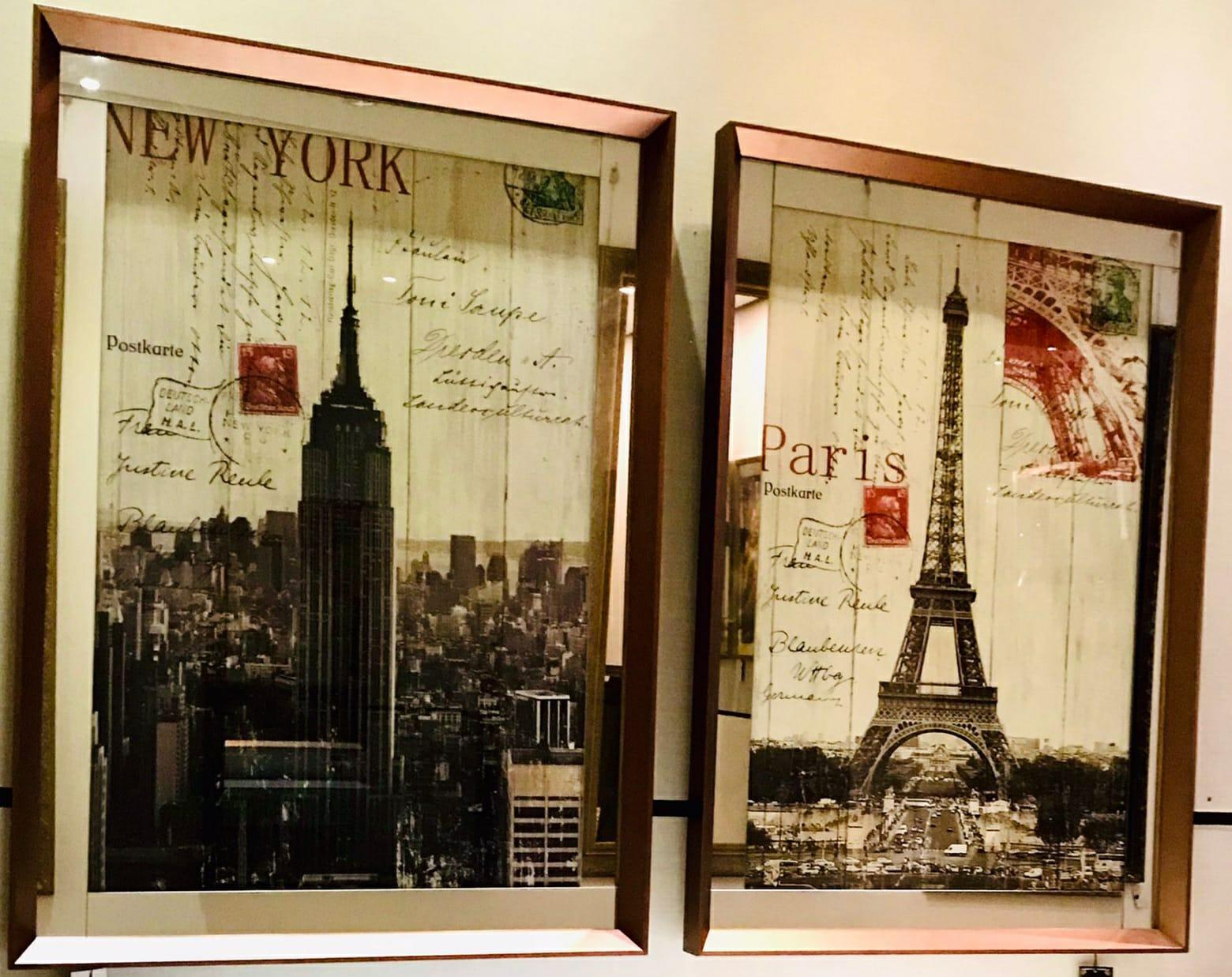 Conjunto de Quadros NYC e Torre eifel