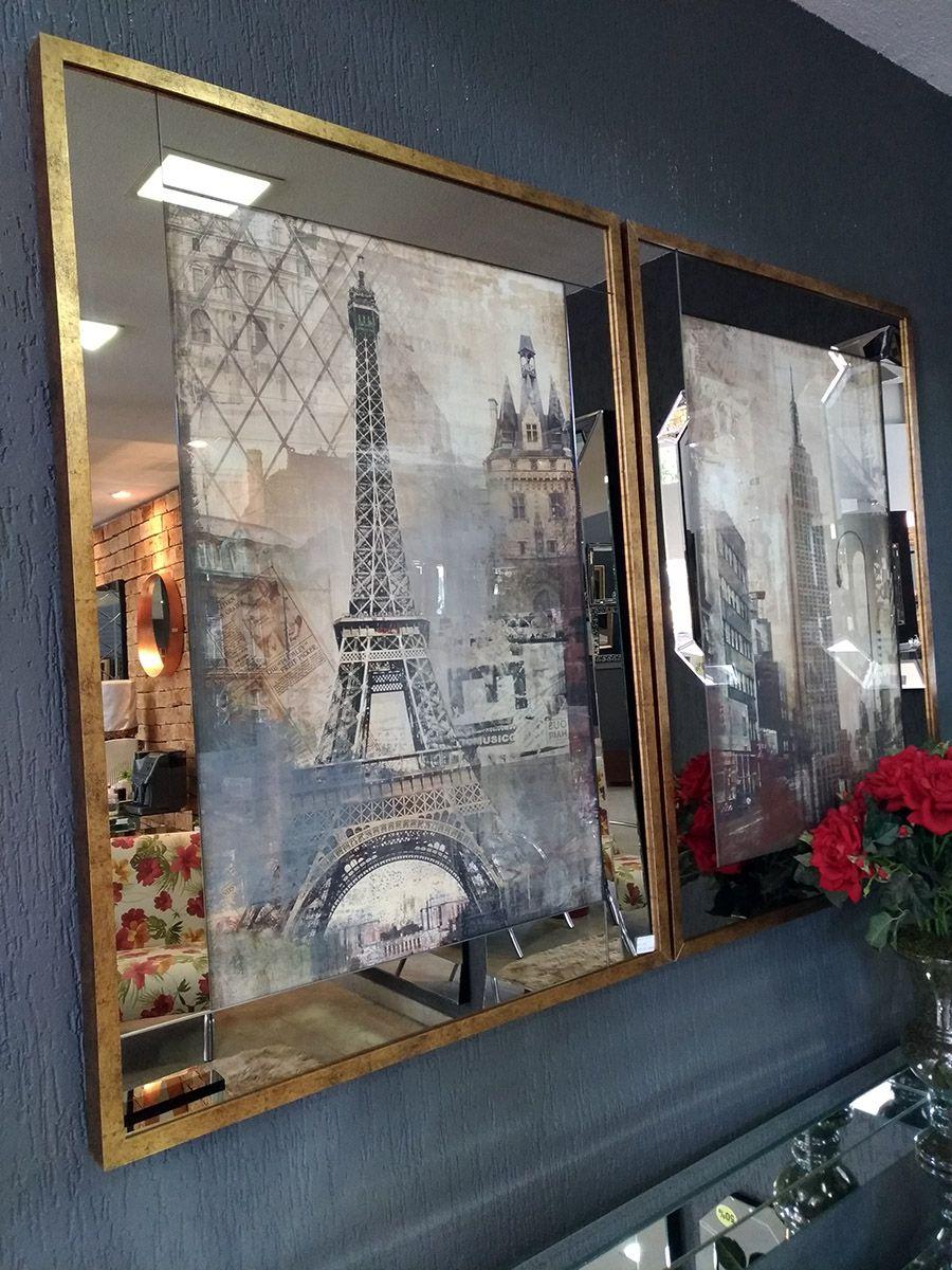 Conjunto de Quadros Paris e NY  - Universo Decor Móveis e Decoração