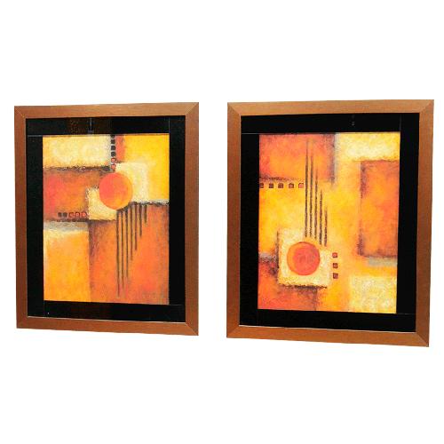 Conjunto Quadros Moldura Bronze Abstrato
