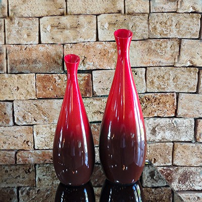 Conjunto Vaso Decorativo Vermelho  - Universo Decor Móveis e Decoração