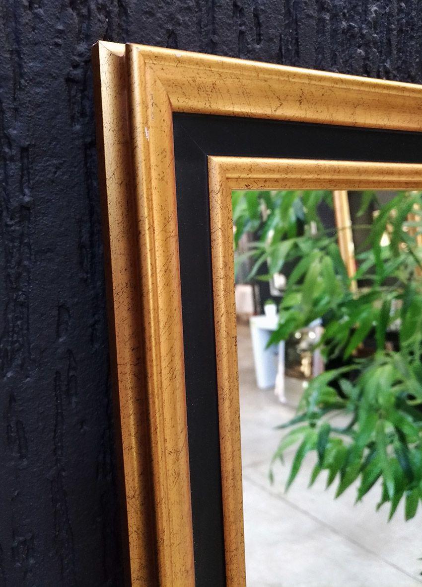 Espelho Com Moldura Dourada e Preta UD 81.9152