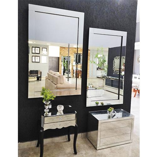 Espelho Decorativo de Parede Prata Clean  - Universo Decor Móveis e Decoração