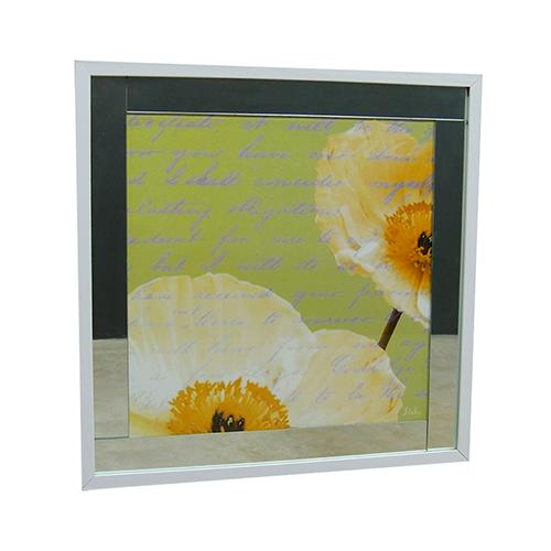 Quadro Moldura Branca Floral Escrita