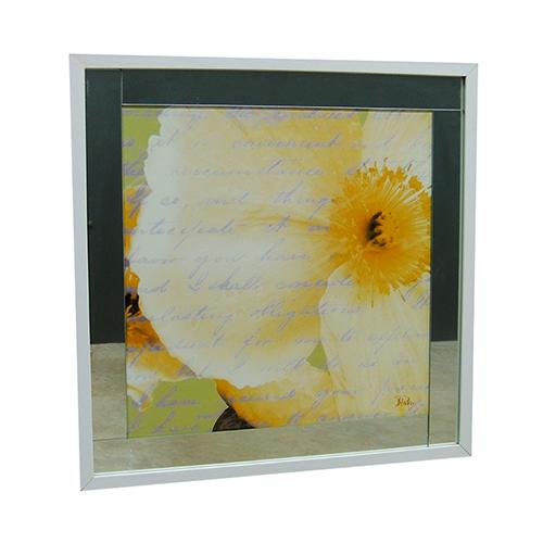 Quadro Moldura Branca Floral Escrita II