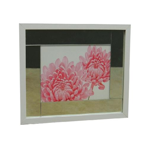 Quadro Moldura Branca Rosa II