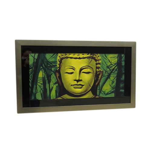 Quadro Moldura Prata Buda