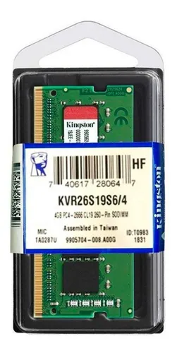 MEMORIA KINGSTON 4GB DDR4 2666 SODIMM