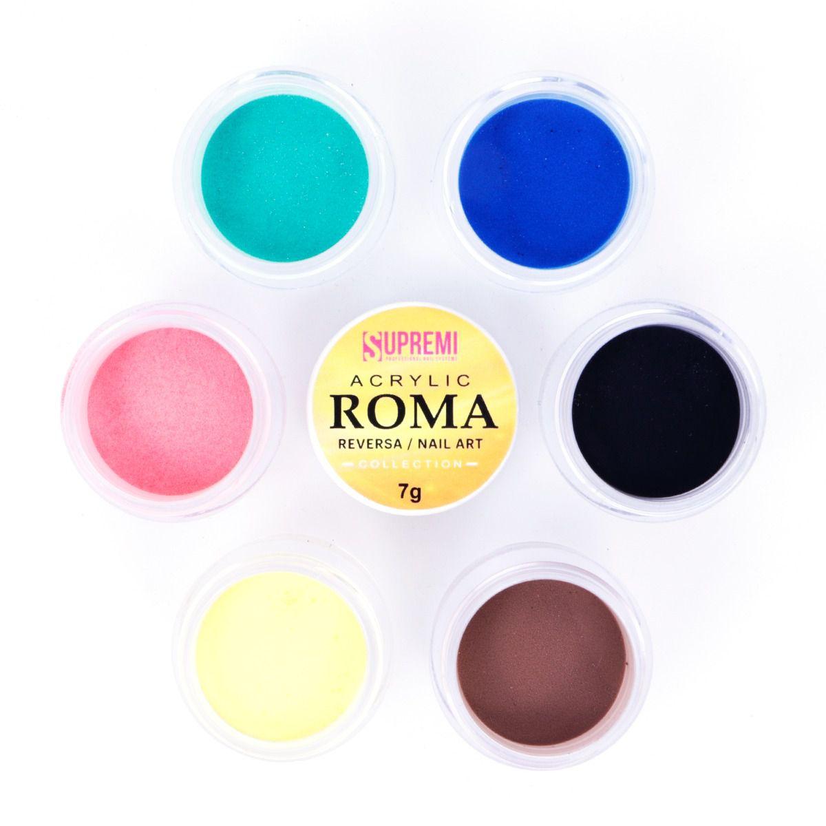 Kit pó acrílico colorido Coleção Roma