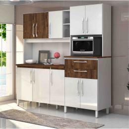 Armário para Cozinha 10 Portas Branco / Malbec Rubi
