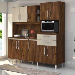 Armário para Cozinha 10 Portas Malbec / Camurça Rubi