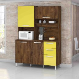 Armário de Cozinha 4 Portas Diamante Malbec/Amarelo