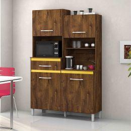 Armário para Cozinha 4 Portas Malbec / Amarelo Pérola
