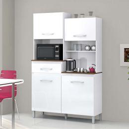 Armário para Cozinha 4 Portas Pérola Branco
