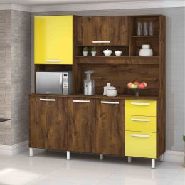 Armário para Cozinha 5 Portas Malbec / Amarelo Diamante