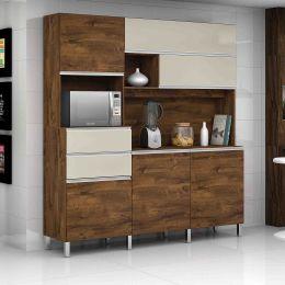 Armário para Cozinha 6 Portas Malbec / Camurça Elegance