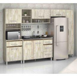 Armário para Cozinha 7 Portas Ártico / Amêndoa Esmeralda