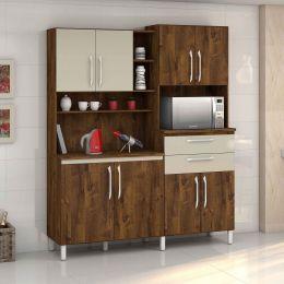Armário para Cozinha 8 portas Malbec / Camurça Rubi