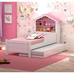 Bicama Casa Solteiro Princesa Branco/Rosa com Colchões