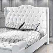 Cabeceira Box Casal Dubai 1.40 Corino Branco - LH Móveis
