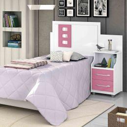 Cabeceira Solteiro Regulável com Criado Flórida Branco/Rosa