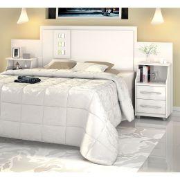 Cabeceira para cama Casal/Queen/King com Criados Flórida Branco - VitaMov