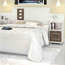 Cabeceira para cama Casal/Queen/King com Criados Flórida Off / Castanho - VitaMov